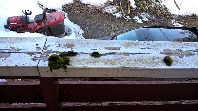 Gelender på veranda utenfor mors soverom. Rengjøringsbyråets faktura angir huset er høytrykksspylt 2