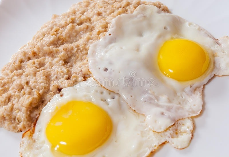 stekt graut med egg